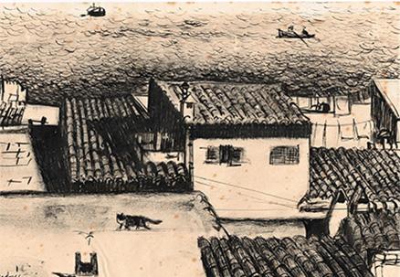 Carloandrés. Dibuix a tinta xinesa. Eivissa. 1958