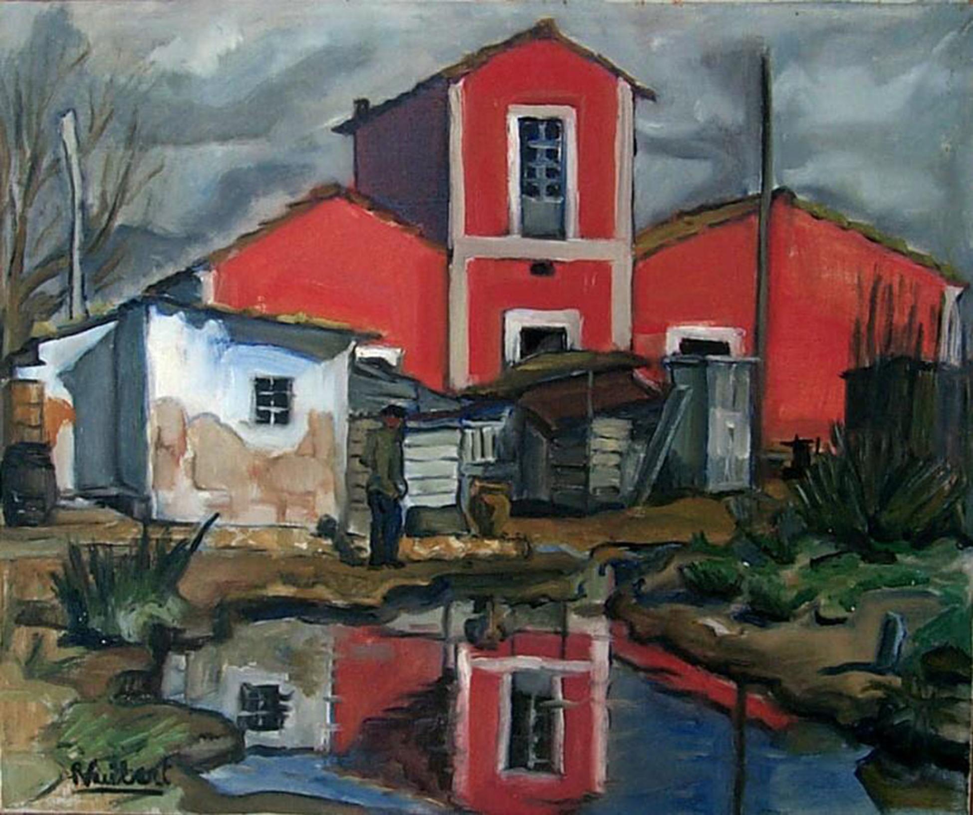 La casa vermella (Eivissa). René Vuibert. 1956. Oli damunt llenç. Mesures desconegudes.