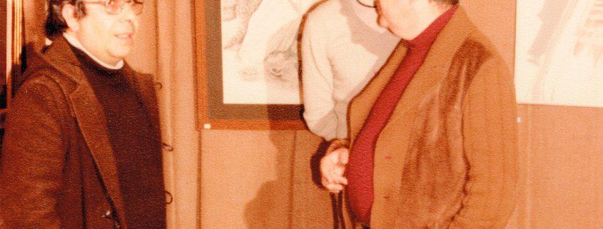 Vicent Calbet amb Ramon Medina a una exposició a l'Escola d'Arts i Oficis