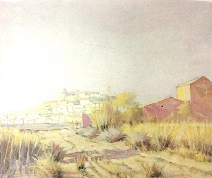 Casa vermella i al fons Eivissa. Oli damunt llenç. Antoni Pomar. Eivissa (ca. 1951)