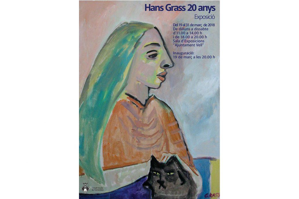 """Cartell de l'exposició """"Hans Grass 20 anys"""" a la sala de l'Ajuntament Vell de Formentera (març, 2018)"""