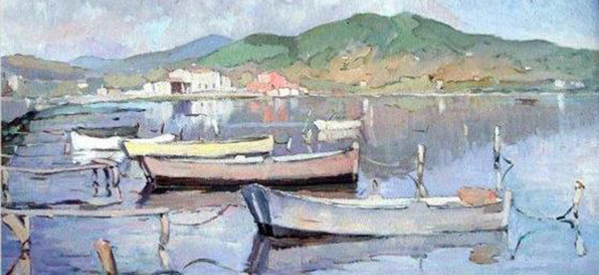 Barques (detall). Antoni Pomar. Eivissa, 1953. Oli sobre tela. Col·lecció Ramon Medina