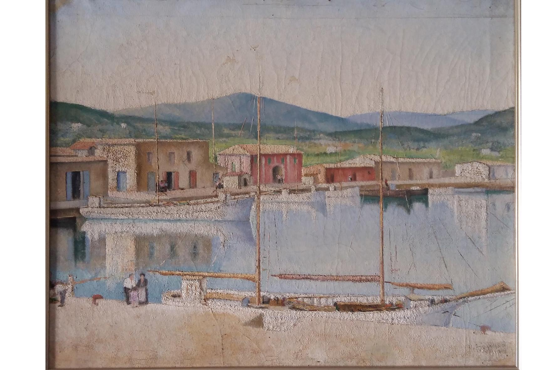 """""""Vista del port d'Eivissa"""" Vincenzo Fioravanti. Oli sobre tela. ca. 1933. 52x64 (aprox) Col·lecció particular Núria Ferrer Barbany"""