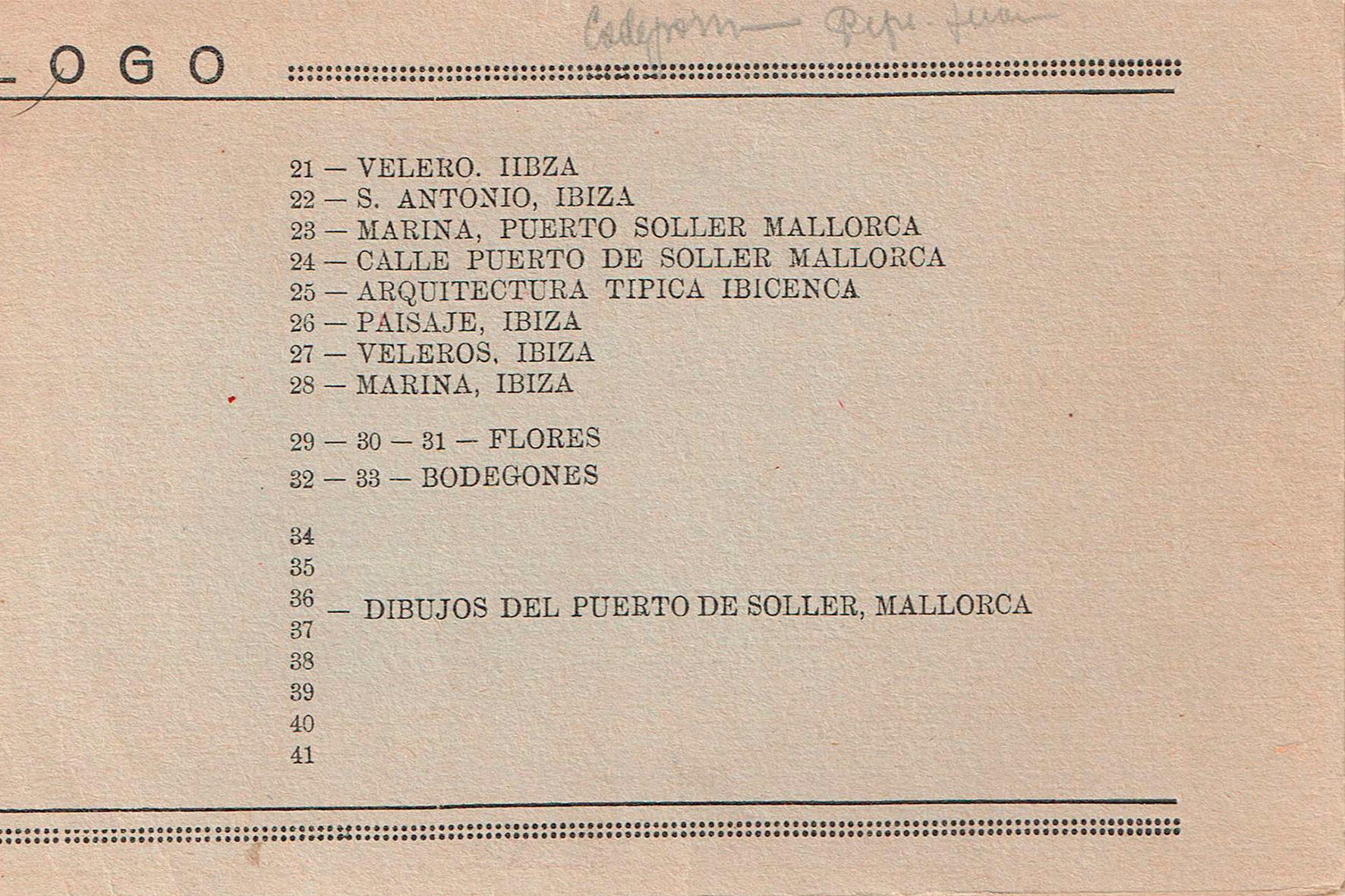 Catàleg exposició Ateneu d'Alacant. 1936. Pàg. 2